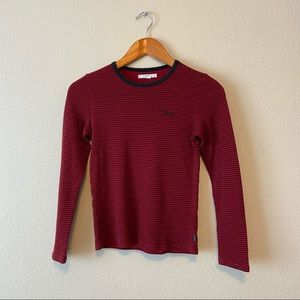 Vans Black and Red Long Sleeve Striped Shirt